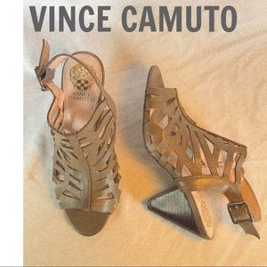 VINCE CAMUTO Taupe Cut Out Designed  Heels
